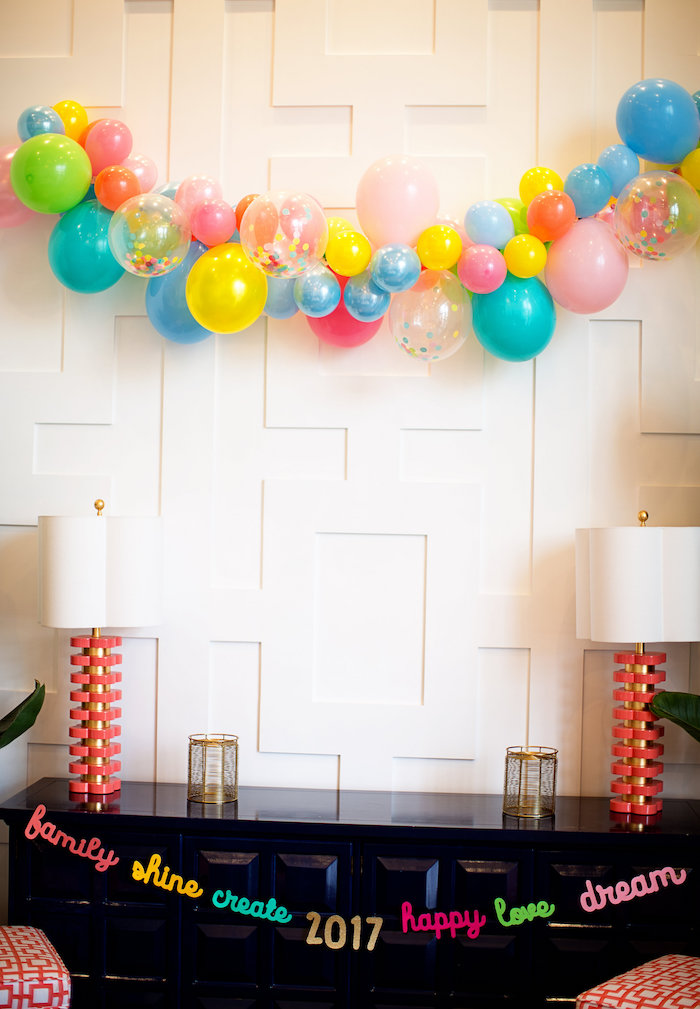 Party table with balloon garland backdrop from a New Year Dream Board Crafting Party on Kara's Party Ideas | KarasPartyIdeas.com (26)
