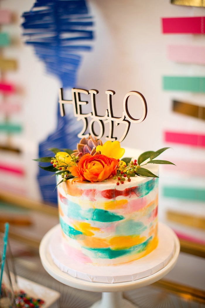 Color-washed watercolor cake from a New Year Dream Board Crafting Party on Kara's Party Ideas | KarasPartyIdeas.com (4)