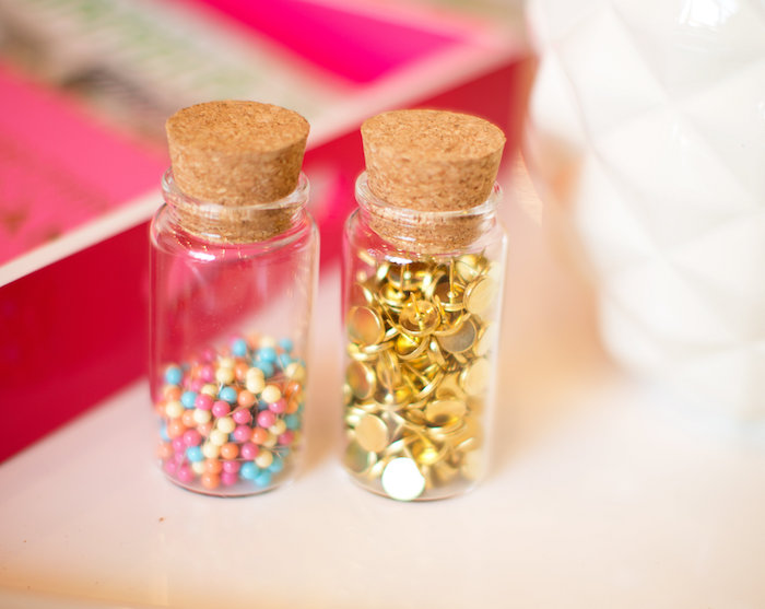 Beads and gold thumb tack from a New Year Dream Board Crafting Party on Kara's Party Ideas | KarasPartyIdeas.com (33)