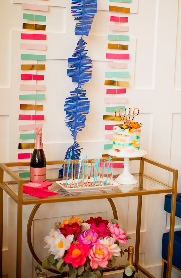 Drink + sweet table from a Drink cart from a New Year Dream Board Crafting Party on Kara's Party Ideas | KarasPartyIdeas.com (29)