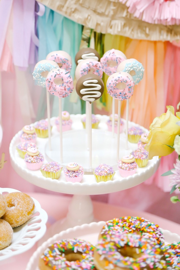 Donut pops from a Pastel Donut Birthday Party on Kara's Party Ideas | KarasPartyIdeas.com (25)