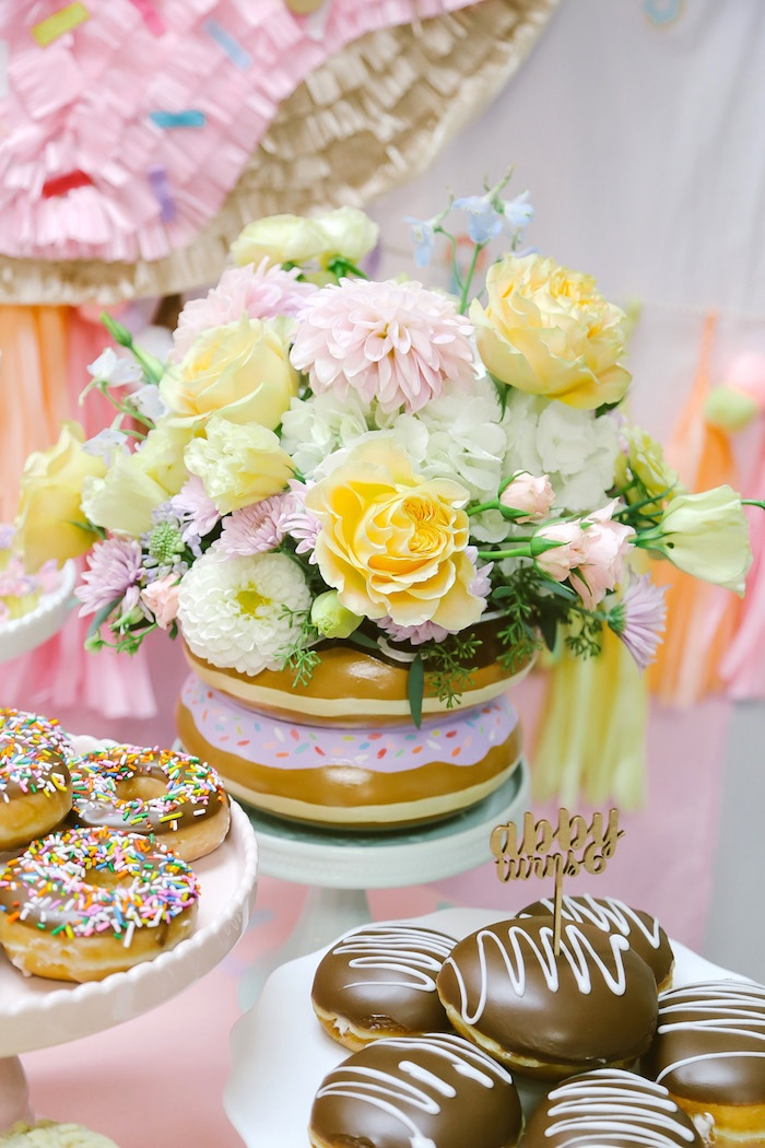 Donut floral arrangement from a Pastel Donut Birthday Party on Kara's Party Ideas | KarasPartyIdeas.com (24)