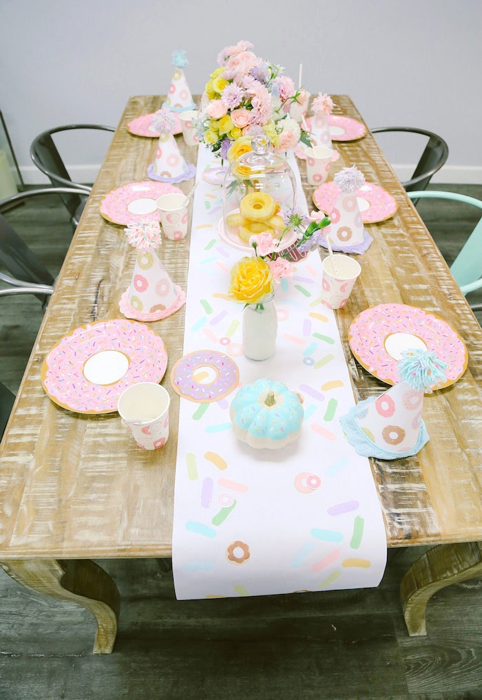 Guest tabletop from a Pastel Donut Birthday Party on Kara's Party Ideas | KarasPartyIdeas.com (23)