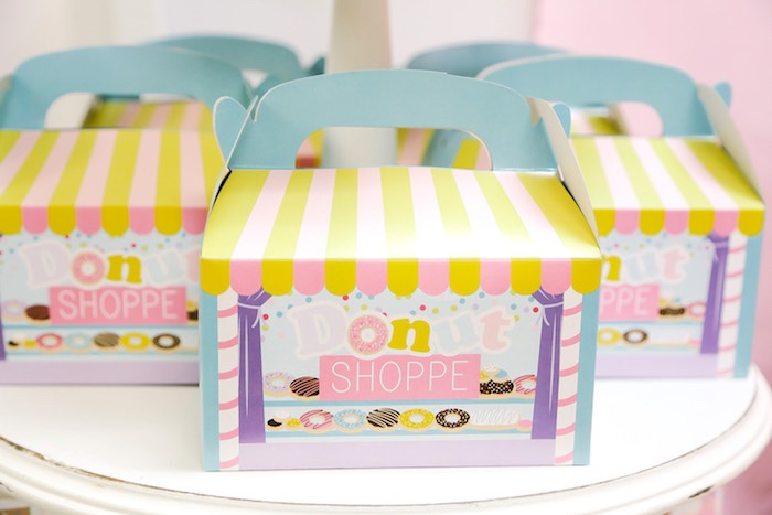 Donut gable boxes from a Pastel Donut Birthday Party on Kara's Party Ideas | KarasPartyIdeas.com (21)