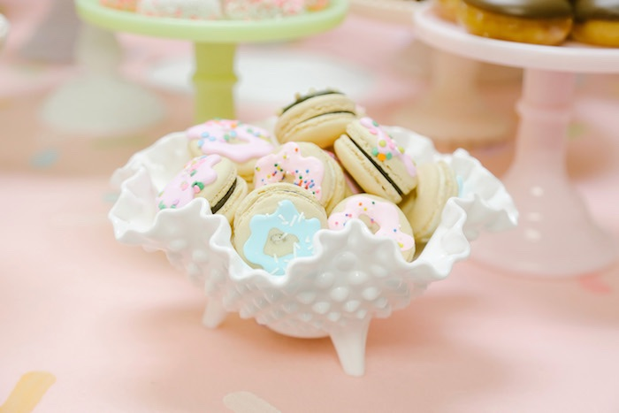 Donut macarons from a Pastel Donut Birthday Party on Kara's Party Ideas | KarasPartyIdeas.com (19)