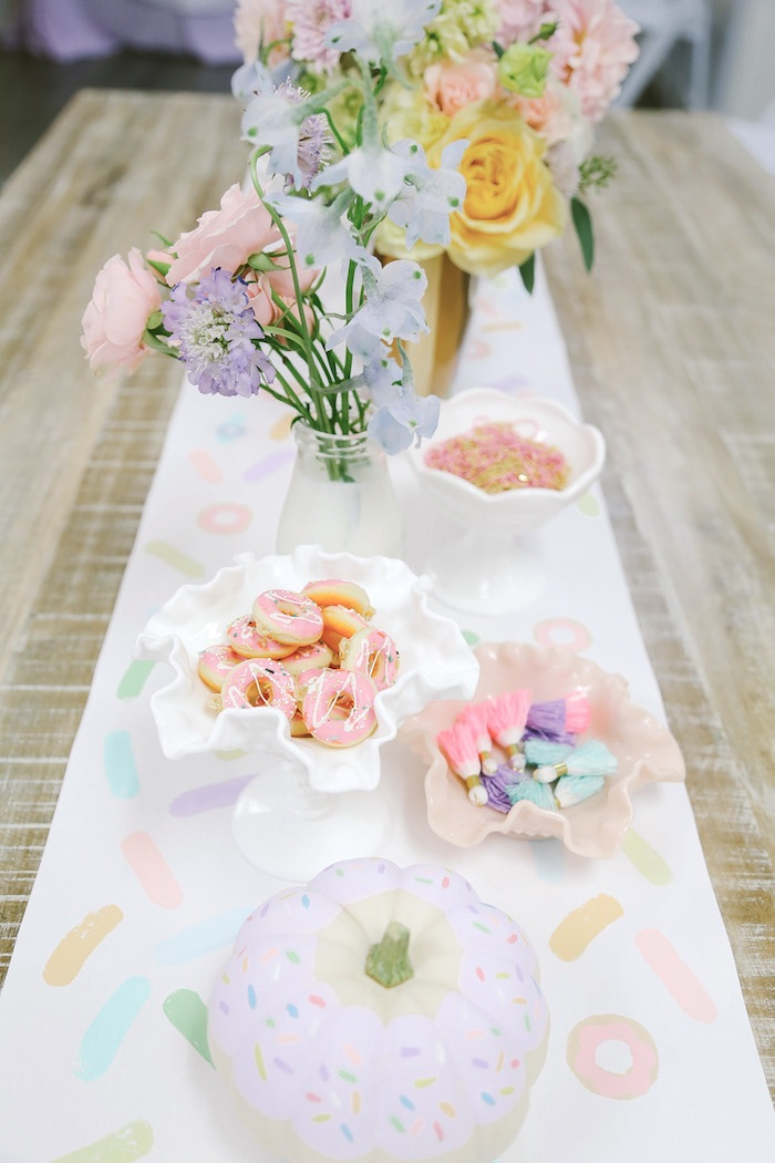 Guest tabletop from a Pastel Donut Birthday Party on Kara's Party Ideas | KarasPartyIdeas.com (18)