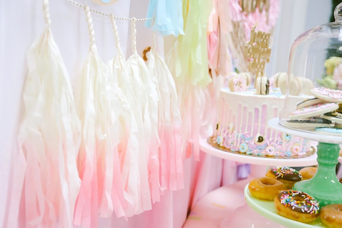 Tissue tassel garland from a Pastel Donut Birthday Party on Kara's Party Ideas | KarasPartyIdeas.com (16)