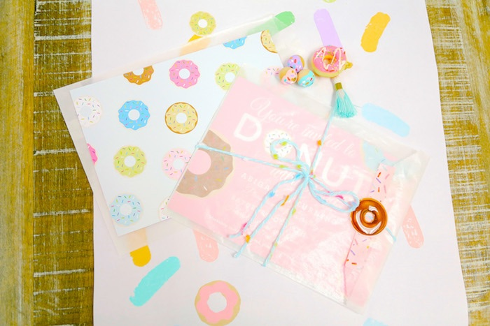 Donut invitation from a Pastel Donut Birthday Party on Kara's Party Ideas | KarasPartyIdeas.com (14)