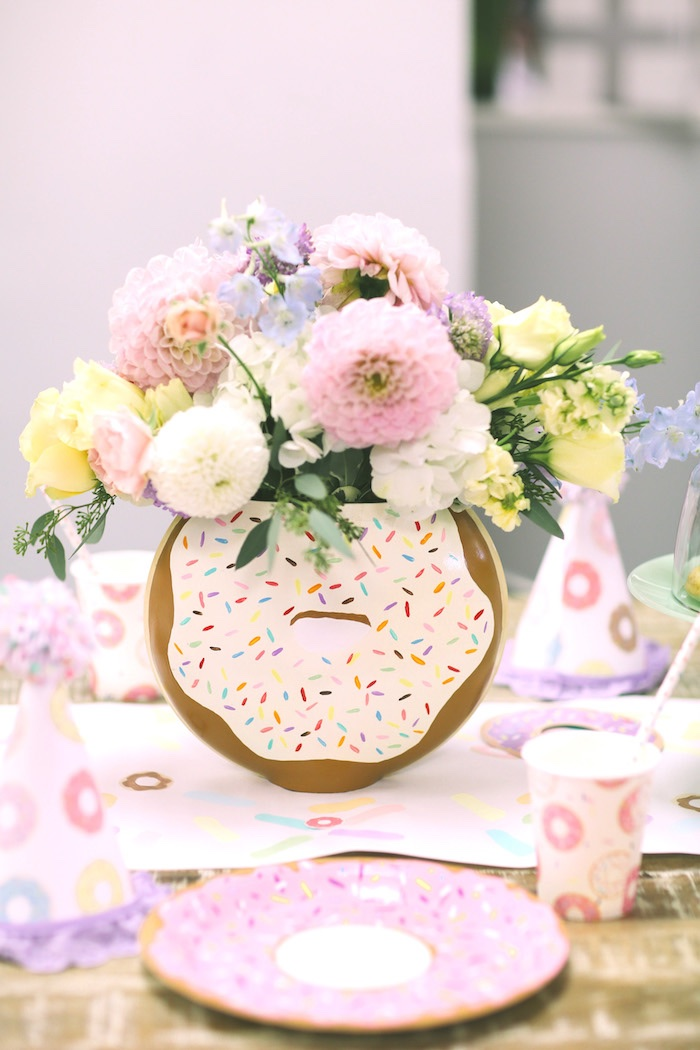 Donut floral arrangement from a Pastel Donut Birthday Party on Kara's Party Ideas | KarasPartyIdeas.com (9)