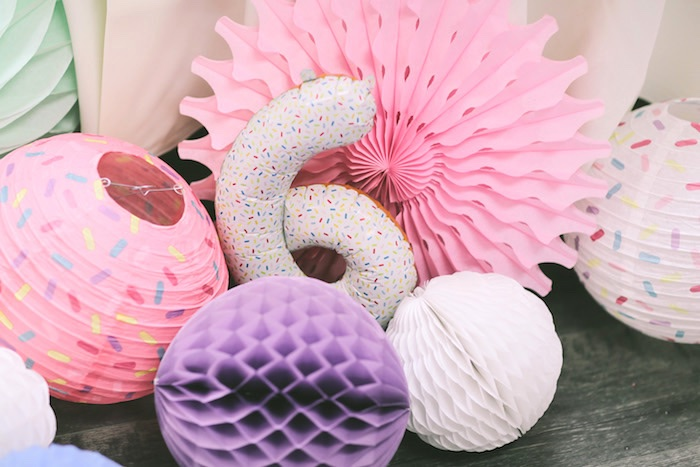 Honeycomb decorations from a Pastel Donut Birthday Party on Kara's Party Ideas | KarasPartyIdeas.com (7)