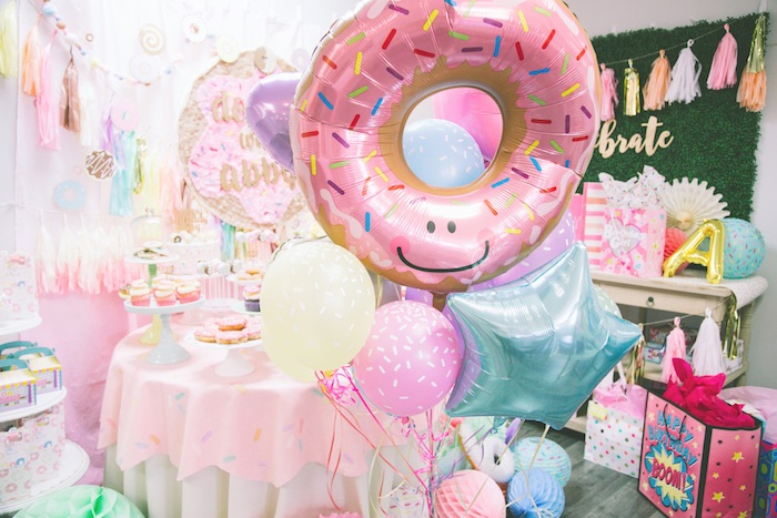 Donut balloon bunch from a Pastel Donut Birthday Party on Kara's Party Ideas | KarasPartyIdeas.com (3)