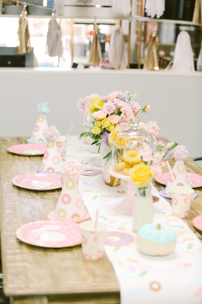 Guest tablescape from a Pastel Donut Birthday Party on Kara's Party Ideas | KarasPartyIdeas.com (33)