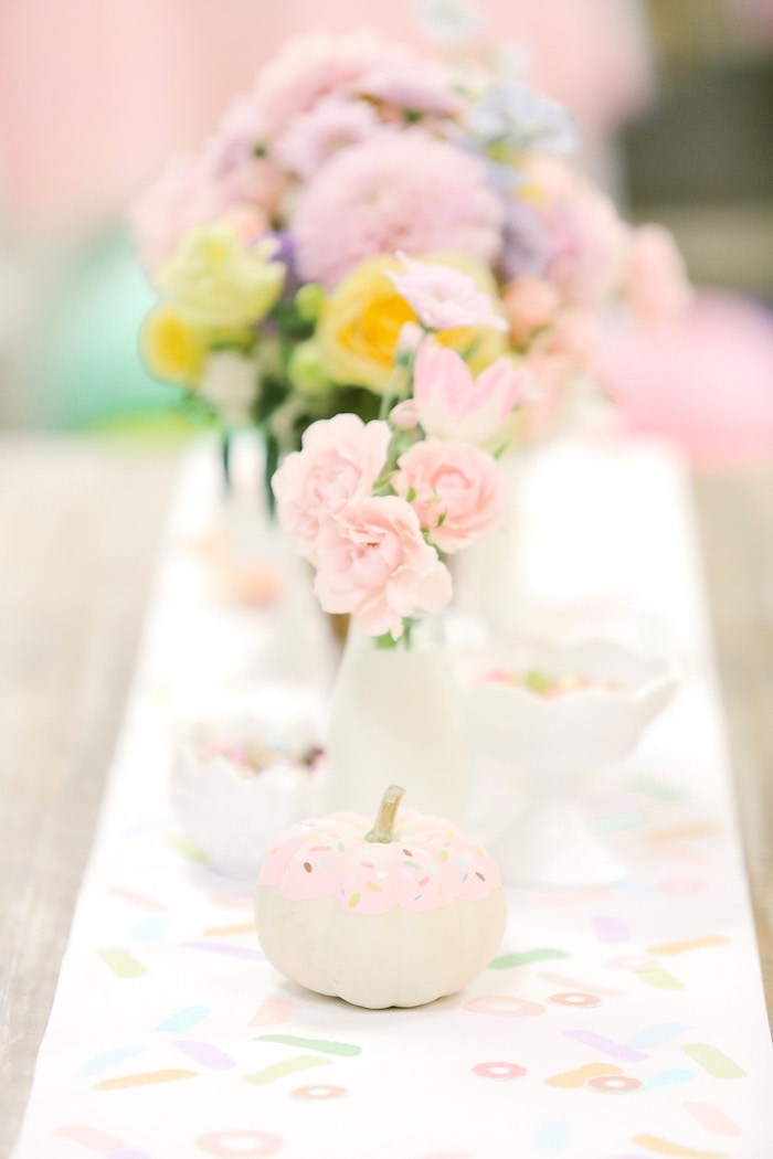 Guest tablescape from a Pastel Donut Birthday Party on Kara's Party Ideas | KarasPartyIdeas.com (32)