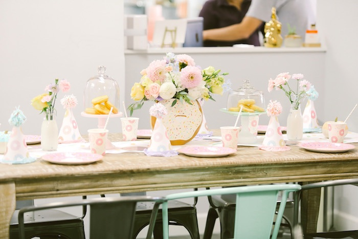 Guest table from a Pastel Donut Birthday Party on Kara's Party Ideas | KarasPartyIdeas.com (31)
