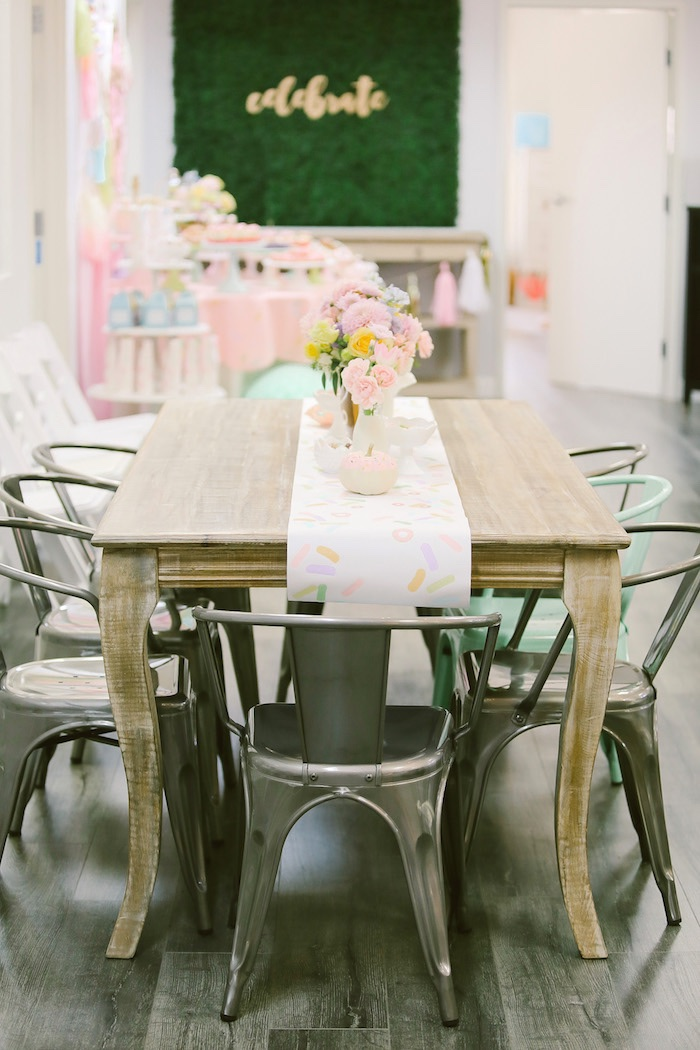 Guest table from a Pastel Donut Birthday Party on Kara's Party Ideas | KarasPartyIdeas.com (30)
