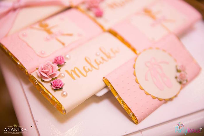 Custom candy bar wrappers from a Pink Ballerina Birthday Party on Kara's Party Ideas | KarasPartyIdeas.com (29)