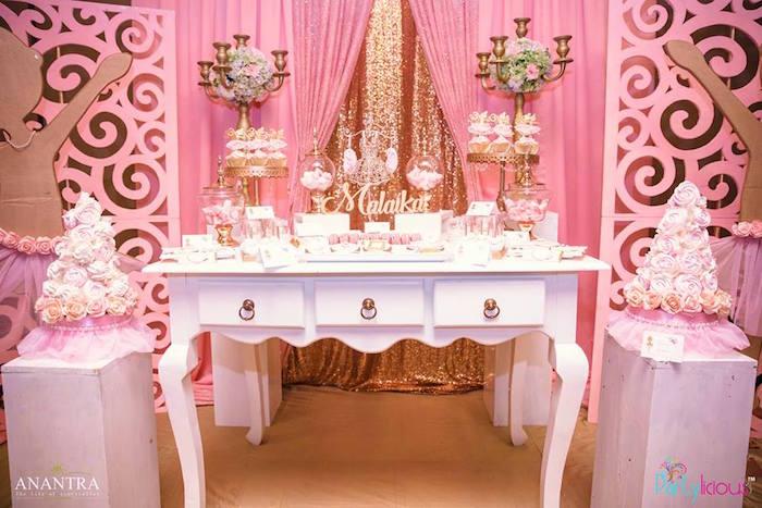 Kara 39 s party ideas gold pink ballerina birthday party for Ballerina party decoration