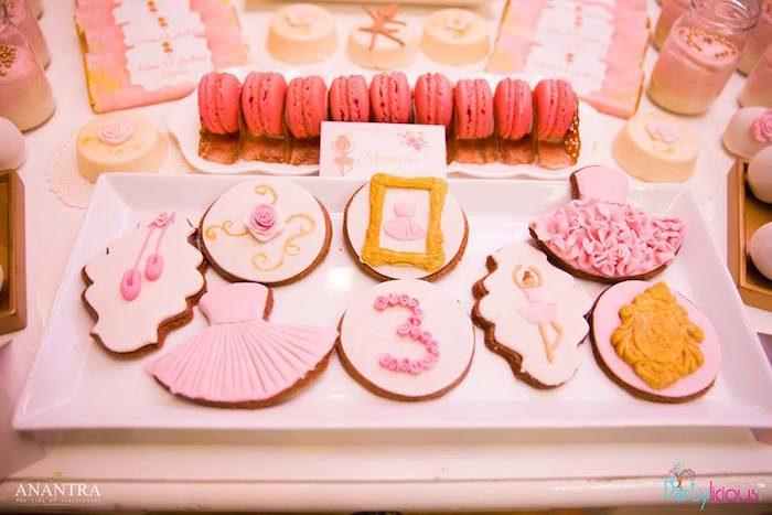 Ballerina cookies from a Pink Ballerina Birthday Party on Kara's Party Ideas | KarasPartyIdeas.com (27)