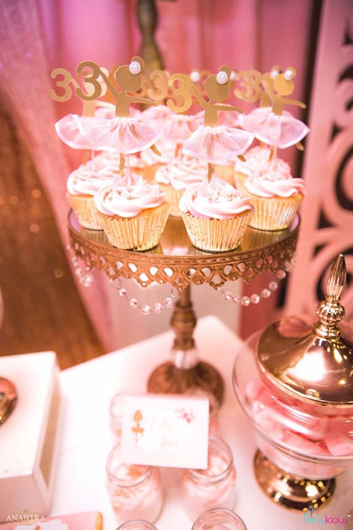 Ballerina cupcakes from a Pink Ballerina Birthday Party on Kara's Party Ideas | KarasPartyIdeas.com (26)
