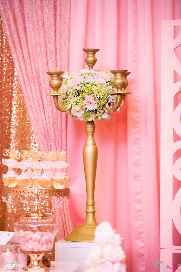 Floral arrangement placed in a gold candelabra from a Pink Ballerina Birthday Party on Kara's Party Ideas | KarasPartyIdeas.com (24)