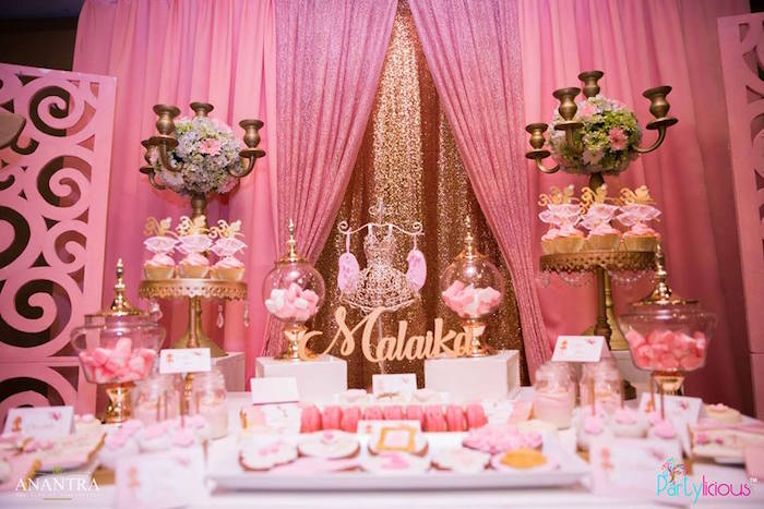 Dessert spread from a Pink Ballerina Birthday Party on Kara's Party Ideas | KarasPartyIdeas.com (23)