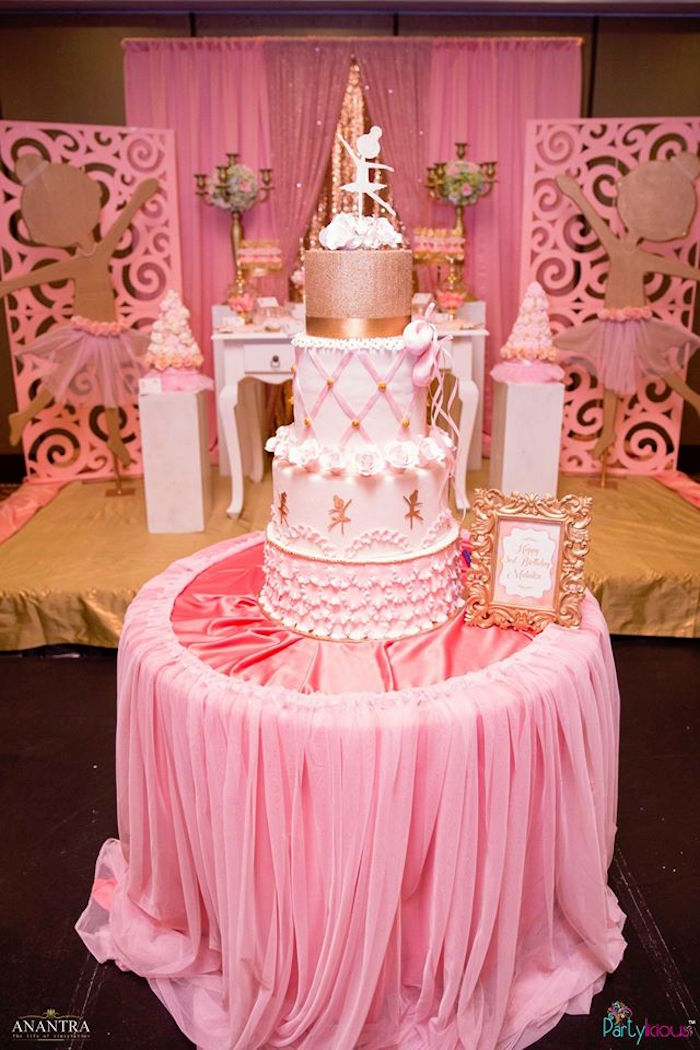Cake table from a Pink Ballerina Birthday Party on Kara's Party Ideas | KarasPartyIdeas.com (18)