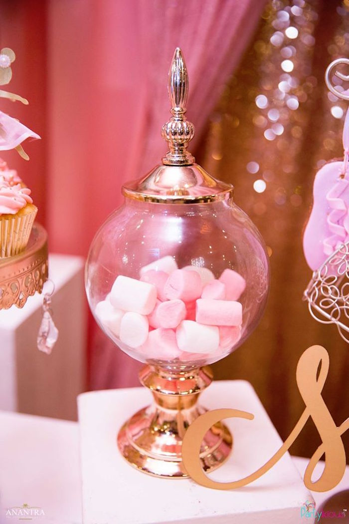 Marshmallow candy jar from a Pink Ballerina Birthday Party on Kara's Party Ideas | KarasPartyIdeas.com (17)