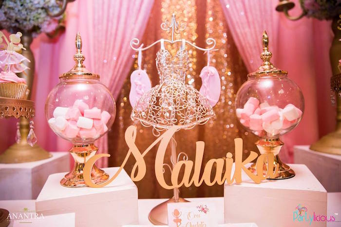 Gold dress form and candy jars from a Pink Ballerina Birthday Party on Kara's Party Ideas | KarasPartyIdeas.com (14)