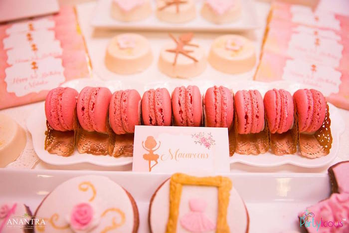 Pink macarons from a Pink Ballerina Birthday Party on Kara's Party Ideas | KarasPartyIdeas.com (11)