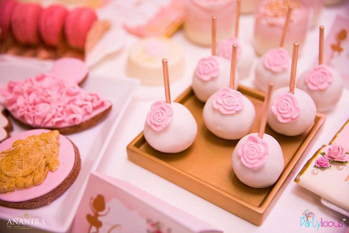Pink flower cake pops from a Pink Ballerina Birthday Party on Kara's Party Ideas | KarasPartyIdeas.com (10)