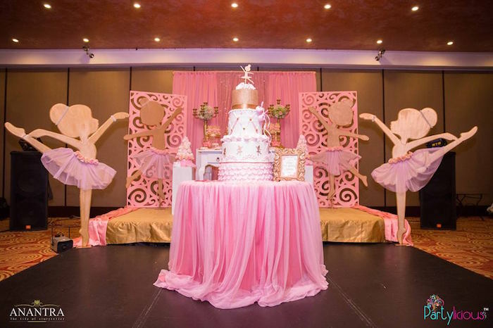 Cake table from a Pink Ballerina Birthday Party on Kara's Party Ideas | KarasPartyIdeas.com (8)