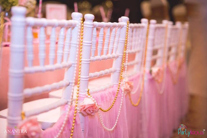 Bead garlands and chair tutus from a Pink Ballerina Birthday Party on Kara's Party Ideas | KarasPartyIdeas.com (6)
