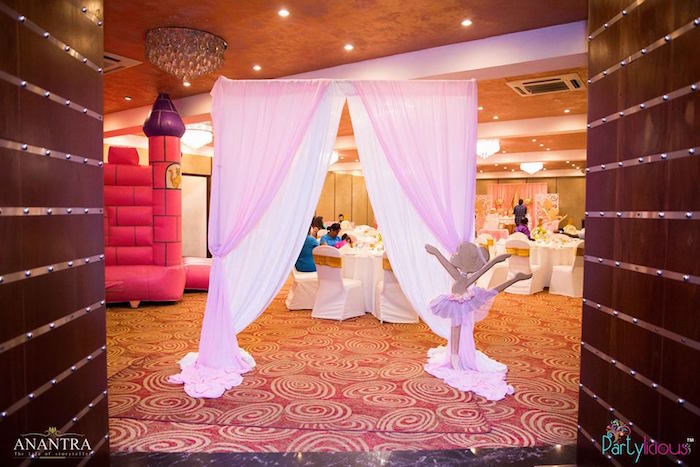Ballerina curtain-call entrance from a Pink Ballerina Birthday Party on Kara's Party Ideas | KarasPartyIdeas.com (5)