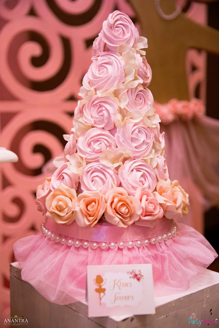 Floral cupcake tower from a Pink Ballerina Birthday Party on Kara's Party Ideas | KarasPartyIdeas.com (33)
