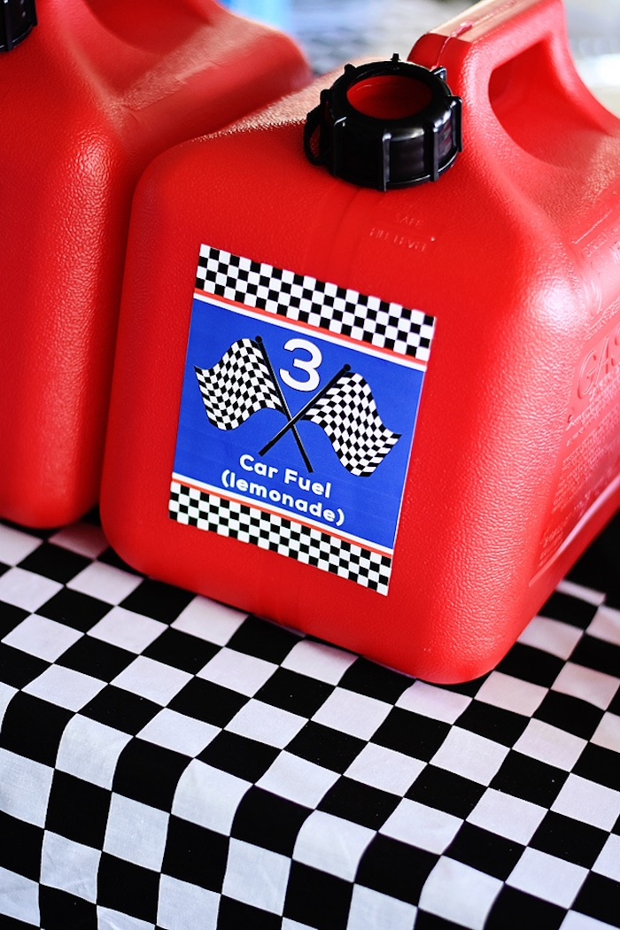 Gas can beverage dispenser from a Race Car Birthday Party on Kara's Party Ideas | KarasPartyIdeas.com (37)