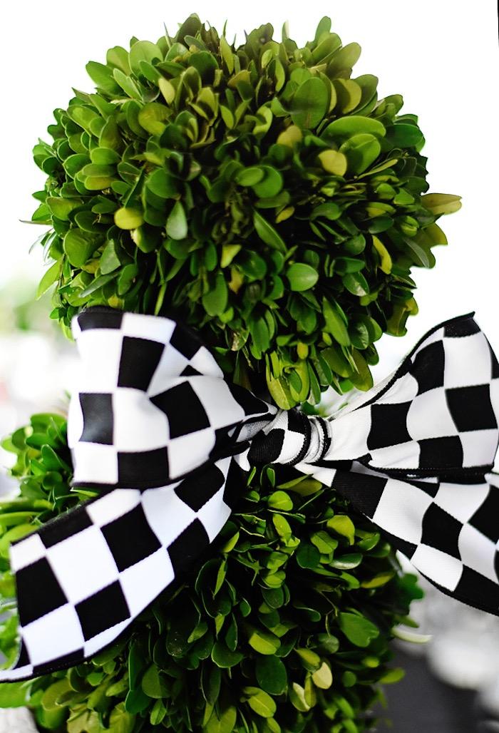 Checkered racer flag bow from a Race Car Birthday Party on Kara's Party Ideas | KarasPartyIdeas.com (35)