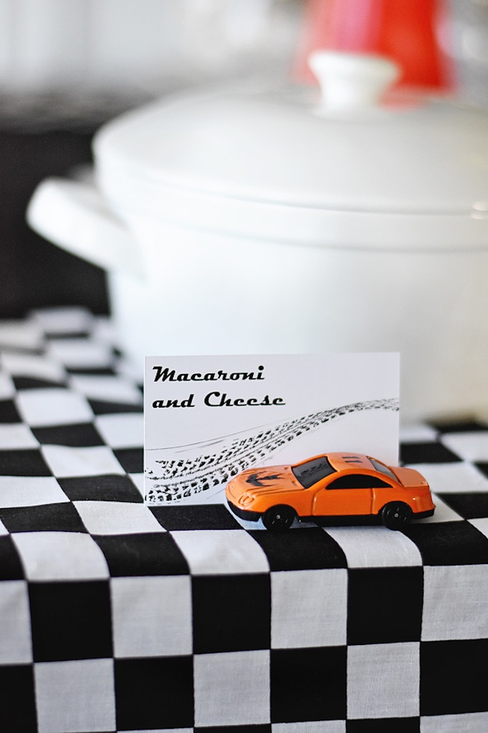 Raceway food label with matchbox car from a Race Car Birthday Party on Kara's Party Ideas   KarasPartyIdeas.com (34)