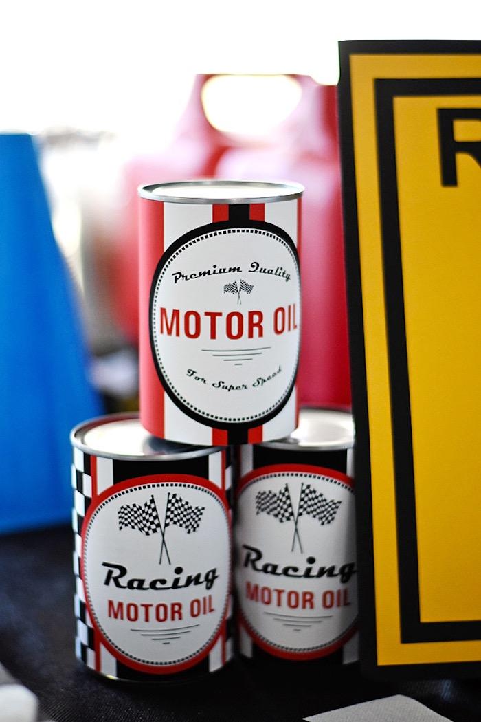 Motor Oil cans from a Race Car Birthday Party on Kara's Party Ideas | KarasPartyIdeas.com (32)