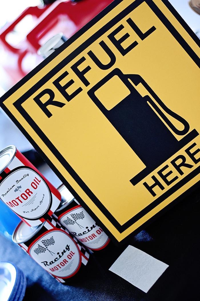 """Refuel Here"" drink table sign from a Race Car Birthday Party on Kara's Party Ideas | KarasPartyIdeas.com (31)"