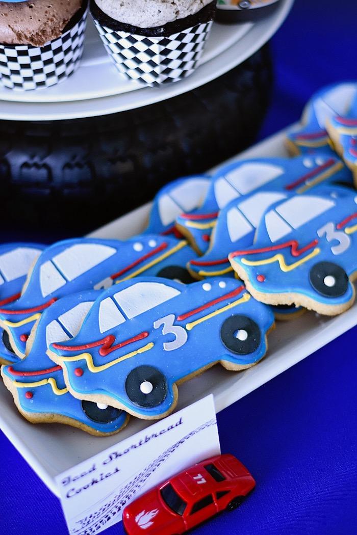 Race car cookies from a Race Car Birthday Party on Kara's Party Ideas   KarasPartyIdeas.com (30)