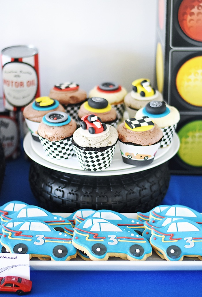 Cupcakes and cookies from a Race Car Birthday Party on Kara's Party Ideas | KarasPartyIdeas.com (28)