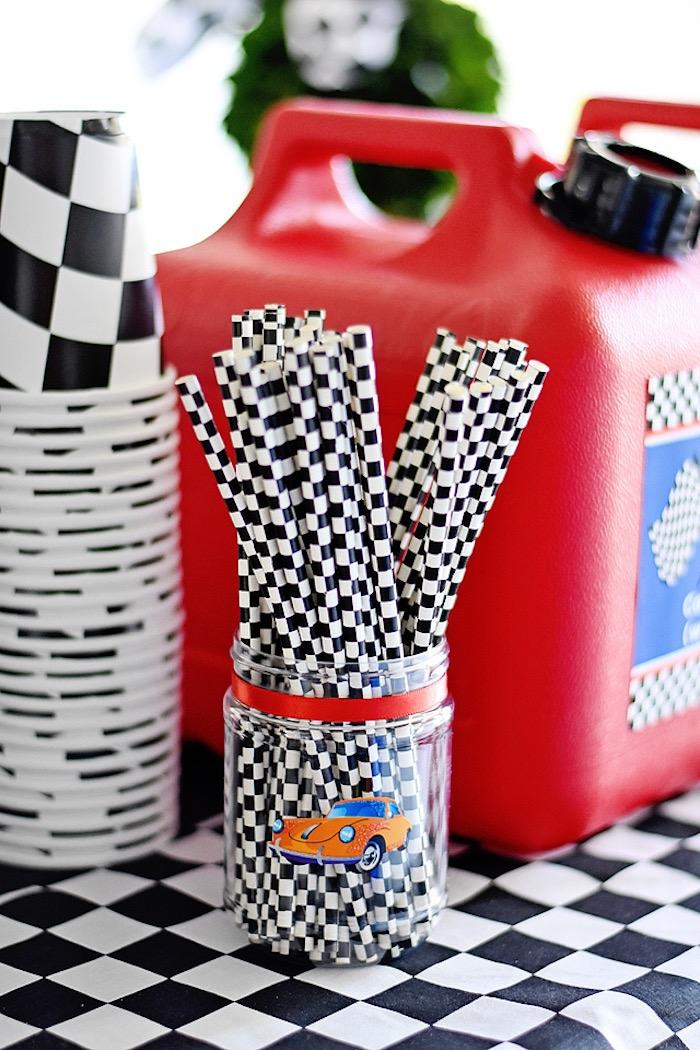 Checkered flag straws from a Race Car Birthday Party on Kara's Party Ideas | KarasPartyIdeas.com (27)