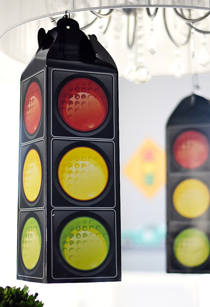 Hanging traffic light from a Race Car Birthday Party on Kara's Party Ideas | KarasPartyIdeas.com (26)