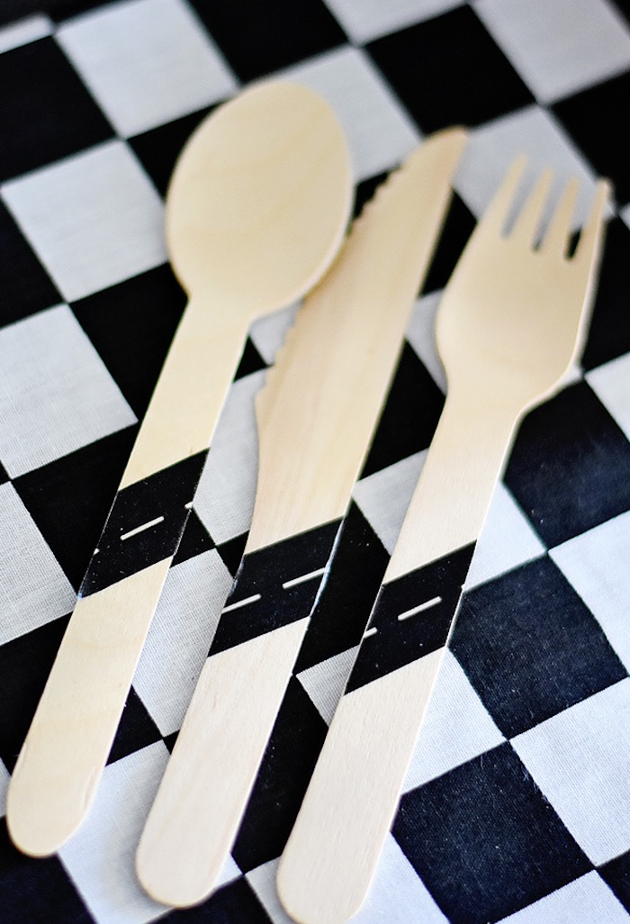 Wooden raceway utensils from a Race Car Birthday Party on Kara's Party Ideas | KarasPartyIdeas.com (25)