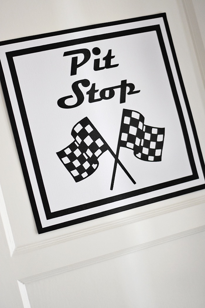 Printed pit stop party sign from a Race Car Birthday Party on Kara's Party Ideas | KarasPartyIdeas.com (23)