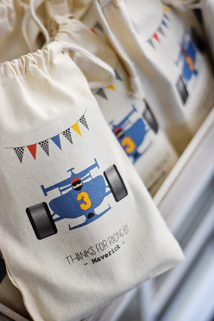Race car favor bag from a Race Car Birthday Party on Kara's Party Ideas | KarasPartyIdeas.com (21)