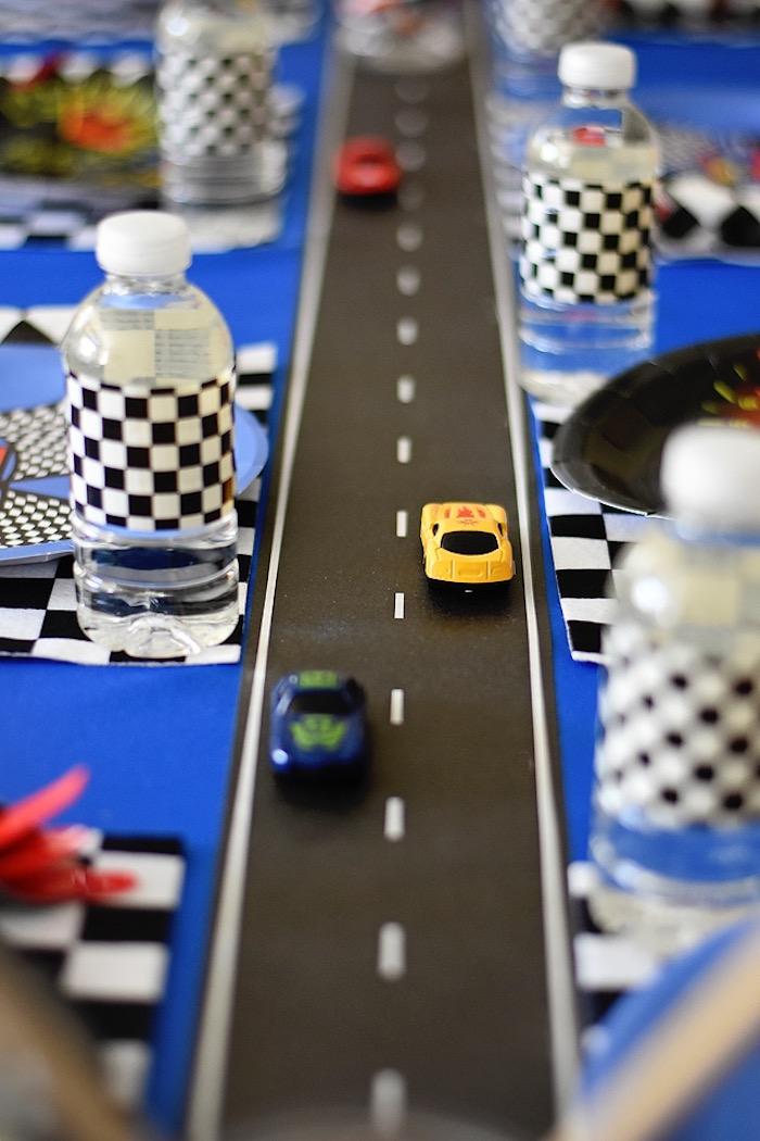 Racetrack table runner from a Race Car Birthday Party on Kara's Party Ideas   KarasPartyIdeas.com (19)