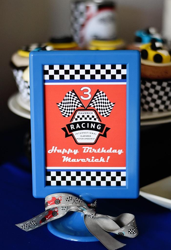 Race car themed party signage from a Race Car Birthday Party on Kara's Party Ideas | KarasPartyIdeas.com (46)
