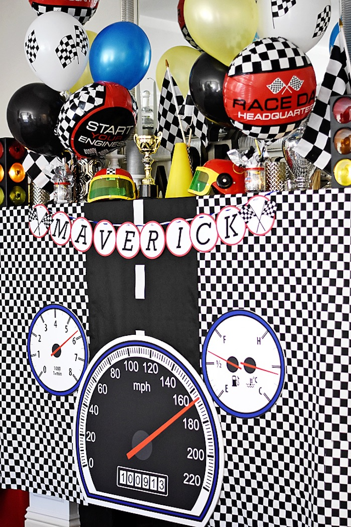 Speedometer party table from a Race Car Birthday Party on Kara's Party Ideas | KarasPartyIdeas.com (16)