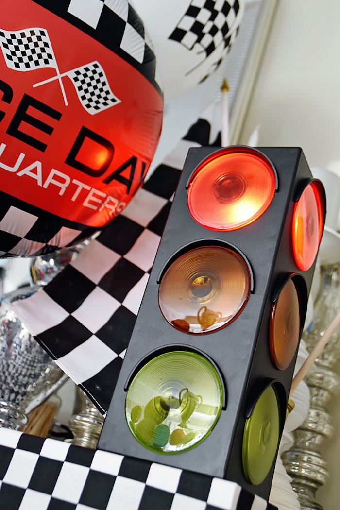 Street light from a Race Car Birthday Party on Kara's Party Ideas   KarasPartyIdeas.com (13)